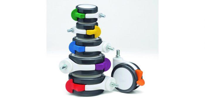 Coloured brake castors